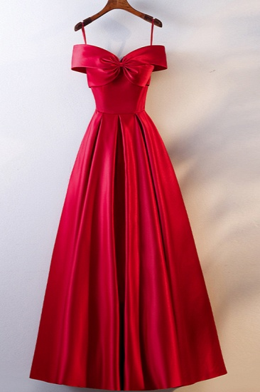 Simple Off-the-Shoulder Satin Red A-Line Prom Dresses Sleeveless Ruffles Evening Dresses Online