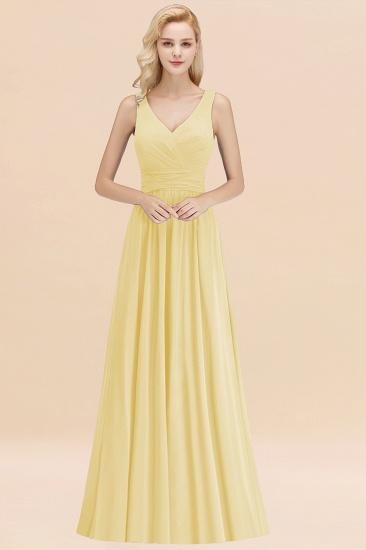 Modest Sleeveless V-Neck Long Chiffon Bridesmaid Dress Online with Ruffle_18