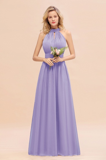 Glamorous High-Neck Halter Bridesmaid Affordable Dresses with Ruffle_21