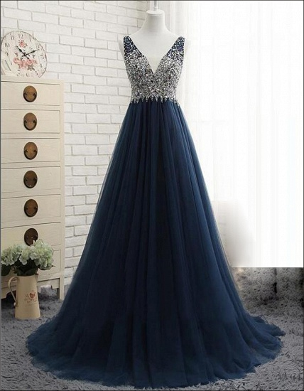 Affordable Dark Navy Tulle V-Neck Prom Dresses Ruffle Appliques beadings Party Dresses On Sale_6