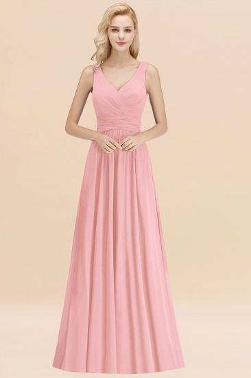Modest Sleeveless V-Neck Long Chiffon Bridesmaid Dress Online with Ruffle_4