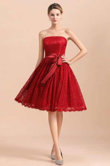 BMbridal Pretty Strapless Red Lace Bridesmaid Dresses Sleeveless Short Wedding Party Dress with Sash_1