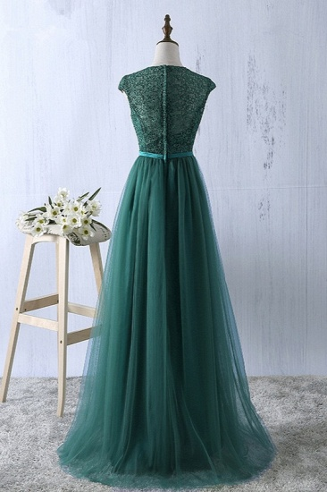 Elegant Dark Green Tulle Jewel Prom Dresses Sleeveless with Appliques Online_3