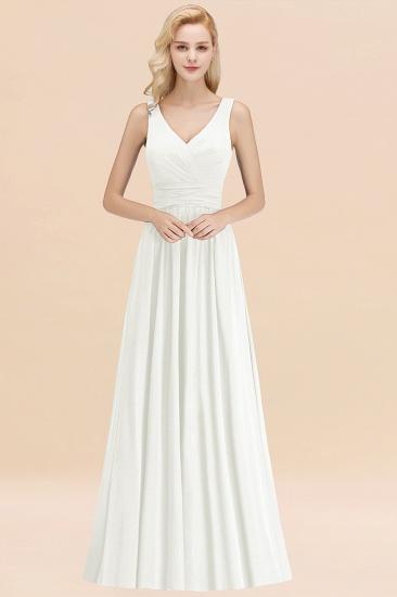 Modest Sleeveless V-Neck Long Chiffon Bridesmaid Dress Online with Ruffle_2