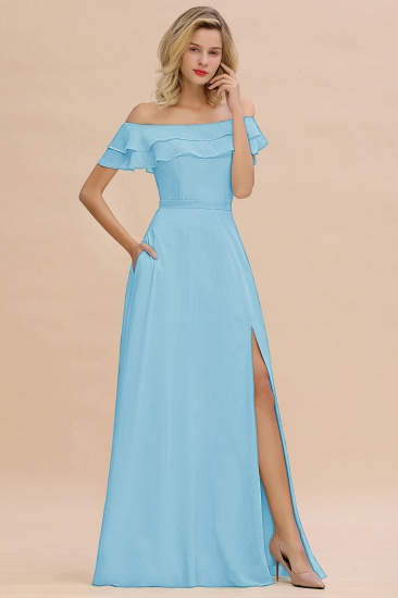 Exquisite Off-the-shoulder Slit Mint Green Bridesmaid Dress With Pockets_23