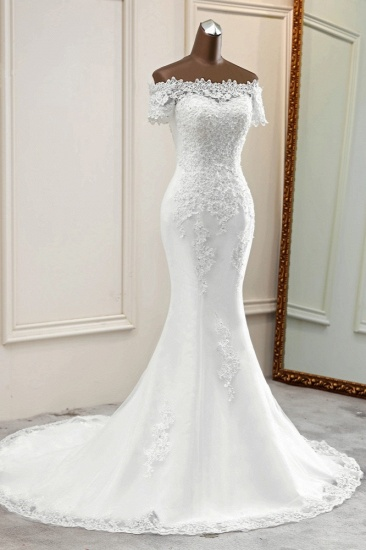 Gorgeous Off-the-Shoulder Lace Mermaid Wedding Dresses Short Sleeves Rhinestons Bridal Gowns_4