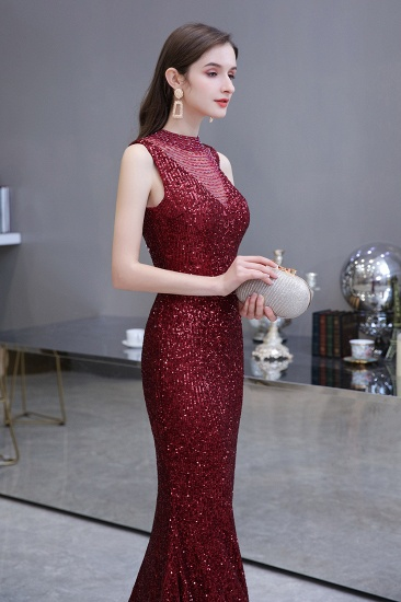 BMbridal Gorgeous Burgundy Sequins Long Mermaid Prom Dress On Sale_8
