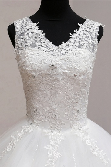 BMbridal Ball Gown V-Neck White Tulle Wedding Dresses Sleeveless Lace Appliques Bridal Gowns with Beadings_7