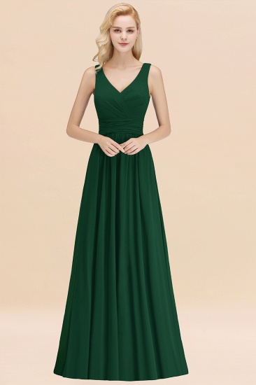 Modest Sleeveless V-Neck Long Chiffon Bridesmaid Dress Online with Ruffle_31