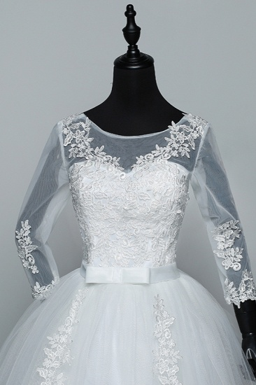 BMbridal Gorgeous Jewel Tulle Lace White Wedding Dresses 3/4 Sleeves Appliques Bridal Gowns On Sale_6