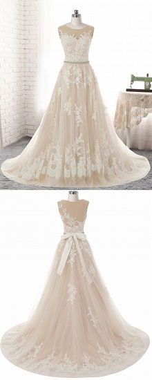 BMbridal Glamorous Creamy Tulle Round Neck Long Wedding Dress White Lace Applique Bridal Gowns On Sale_6