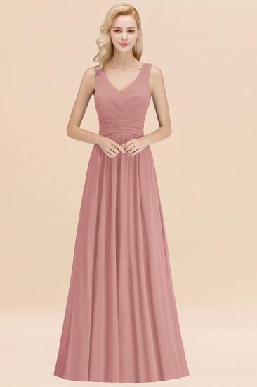 Modest Sleeveless V-Neck Long Chiffon Bridesmaid Dress Online with Ruffle_50