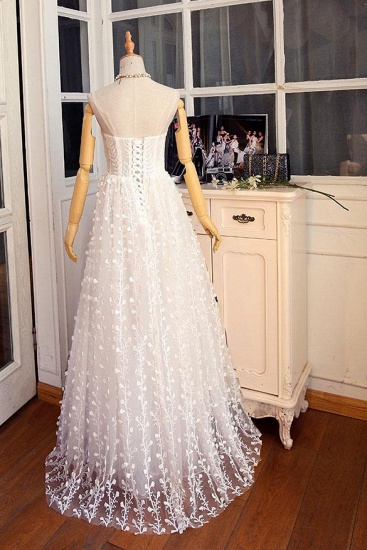 BMbridal Gorgeous Sweetheart Long Spaghetti Straps Wedding Dress Sleeveless Appliques Bridal Gowns On Sale_6