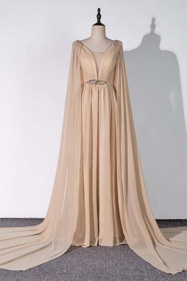 Chic Chiffon V-Neck Ruffle Prom Dresses with Beadings Sash On Sale_1
