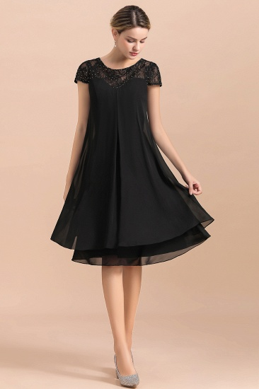 BMbridal Chic Black Cap Sleeve Mother of Bride Dress Chiffon Short Wedding Party Gowns_7