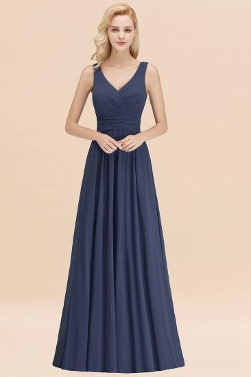 Modest Sleeveless V-Neck Long Chiffon Bridesmaid Dress Online with Ruffle_39