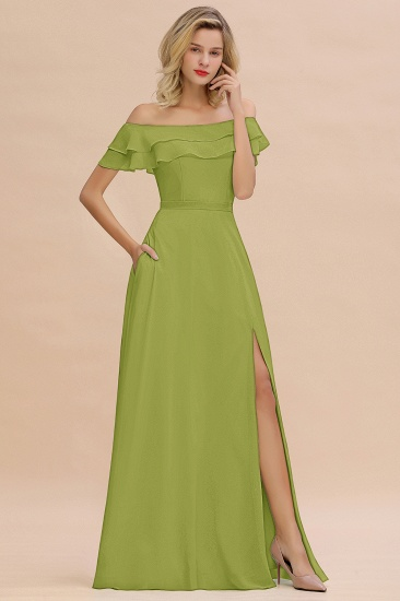 Exquisite Off-the-shoulder Slit Mint Green Bridesmaid Dress With Pockets_34