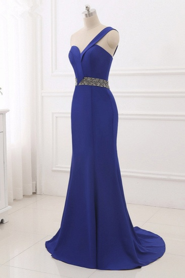 Chic One-Shoulder Sleeveless Mermaid Prom Dresses with Beadings Sash On Sale_4