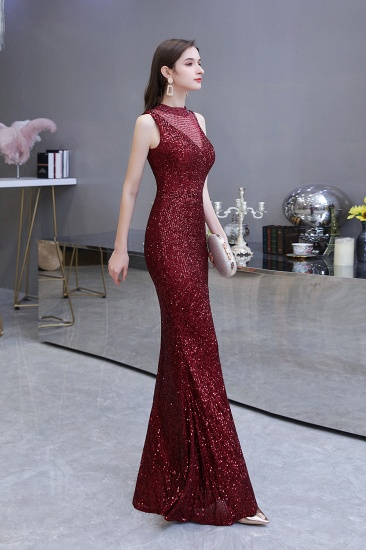 BMbridal Gorgeous Burgundy Sequins Long Mermaid Prom Dress On Sale_7