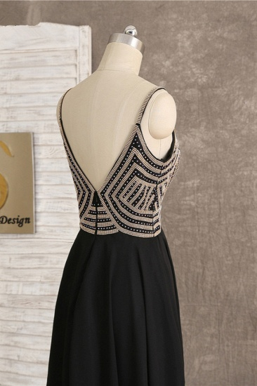 BMbridal Sexy Spaghetti Straps V-Neck Black Prom Dresses Sleeveless with Ruffles Beadings On Sale_7