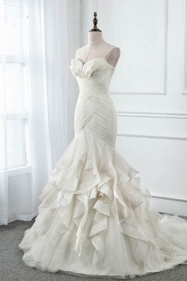 Chic Strapless Sweetheart Ivory Wedding Dresses Ruffles Tulle Sleeveless Bridal Gowns with Feather_4