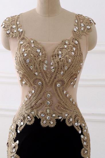 Affordabe V-Neck Sleeveless Mermaid Prom Dresses Gold Appliques with Crystals_6