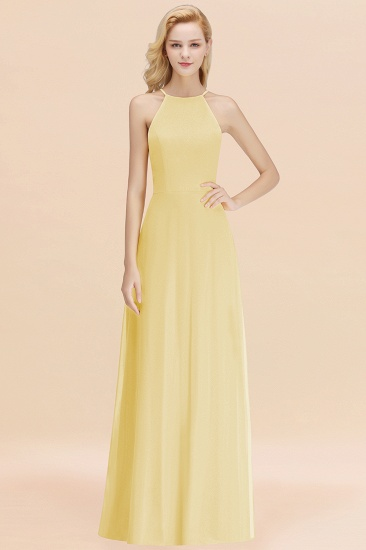 Modest High-Neck Yellow Chiffon Affordable Bridesmaid Dresses Online_18