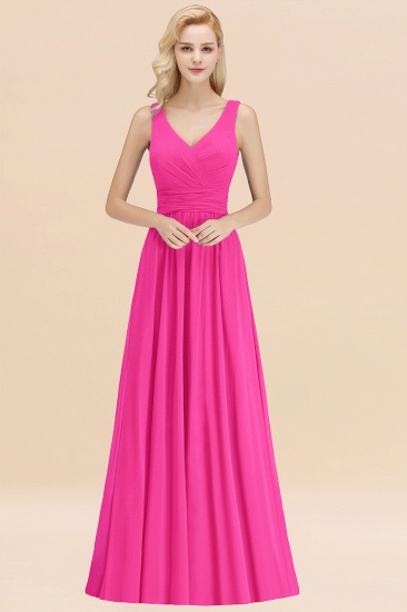 Modest Sleeveless V-Neck Long Chiffon Bridesmaid Dress Online with Ruffle_9