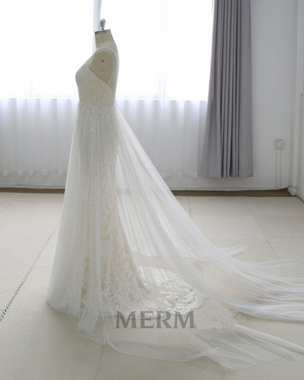 Gorgeous Simple White Lace V-Neck Long Wedding Dress Sleeveless Appliques Bridal Gowns On Sale_4