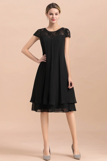Chic Black Cap Sleeve Mother of Bride Dress Chiffon Short Wedding Party Gowns