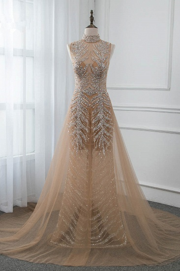 BMbridal Glamorous High-Neck Beadings Appliques Prom Dresses with Rhinestones_1