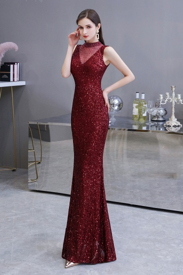 BMbridal Gorgeous Burgundy Sequins Long Mermaid Prom Dress On Sale_5