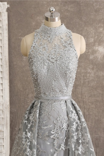 Gorgeous High-Neck Tulle Lace Prom Dresses Sleeveless Appliques Rhinestones Formal Party Dresses On Sale_5