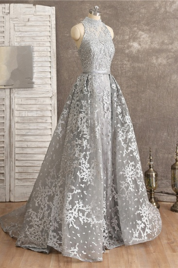 Gorgeous High-Neck Tulle Lace Prom Dresses Sleeveless Appliques Rhinestones Formal Party Dresses On Sale_4