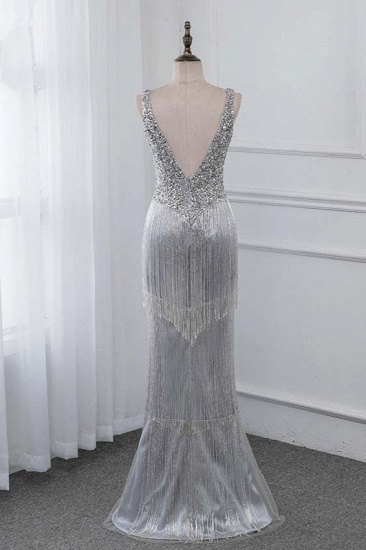 BMbridal Chic V-Neck Sleeveless Mermaid Prom Dresses with Beadings Top_3