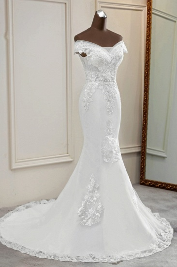 BMbridal Elegant Off-the-Shoulder Sleeveless White Mermaid Wedding Dresses with Beadings_4