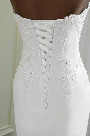 BMbridal Chic Strapless Lace Appliques White Mermaid Wedding Dresses with Beadings Online_8