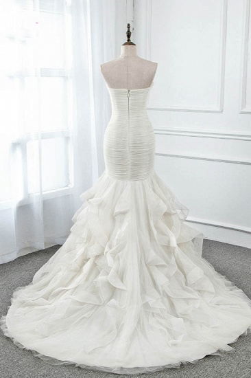 Chic Strapless Sweetheart Ivory Wedding Dresses Ruffles Tulle Sleeveless Bridal Gowns with Feather_3