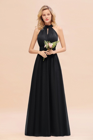 Glamorous High-Neck Halter Bridesmaid Affordable Dresses with Ruffle_29