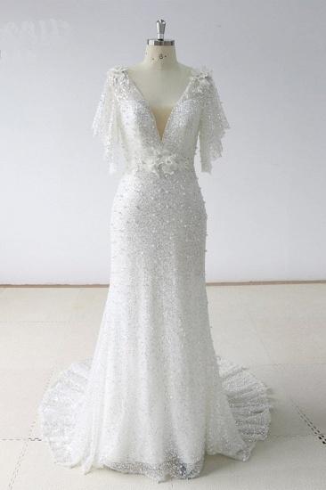 BMbridal Elegant Stunning Sequins White Tulle Wedding Dress Sweep Train Mermaid Short Sleeve Bridal Gowns On Sale_1