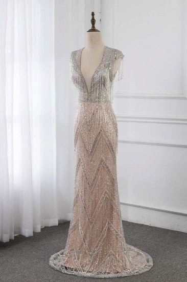 BMbridal Luxury V-Neck Silver Mermaid Prom Dresses with Crystals On Sale_4
