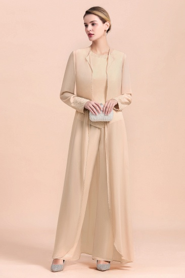 Champagne Long Chiffon Mother of the Bride Dress Two Pieces With Jacket_6