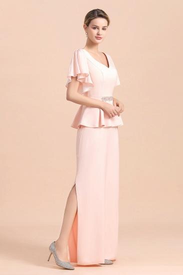 BMbridal Glamorous V-Neck Front Slit Mother of Bride Dresses with Beadings Sash_10