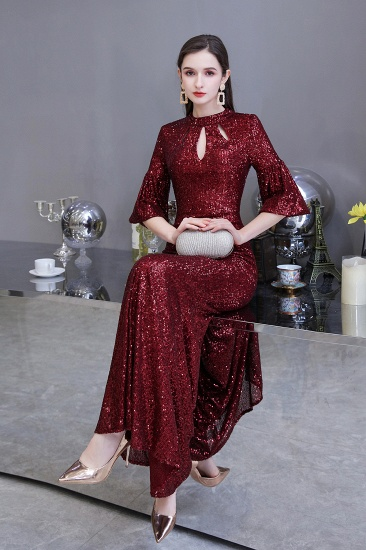 BMbridal Burgundy Half Sleeve Sequins Prom Dress Long Party Gowns Online_7