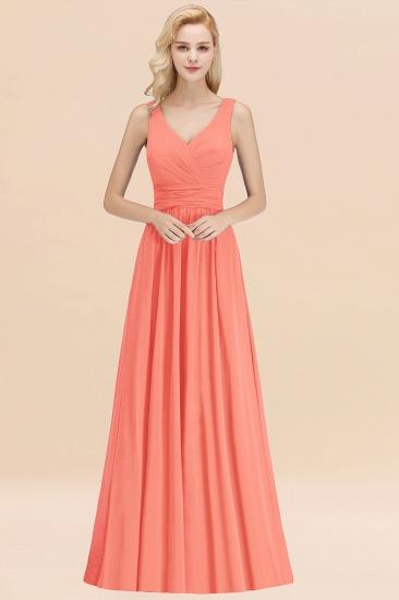 Modest Sleeveless V-Neck Long Chiffon Bridesmaid Dress Online with Ruffle_45