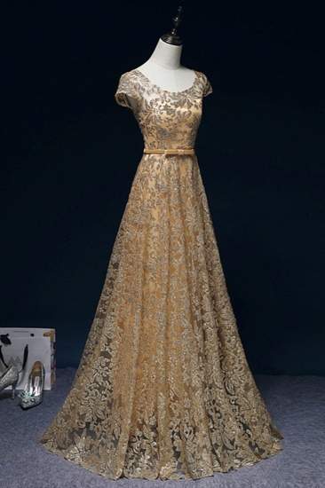BMbridal Gorgeous Tulle Lace Jewel Gold Prom Dresses Short Sleeves Appliques A-Line Formal Dresses_4