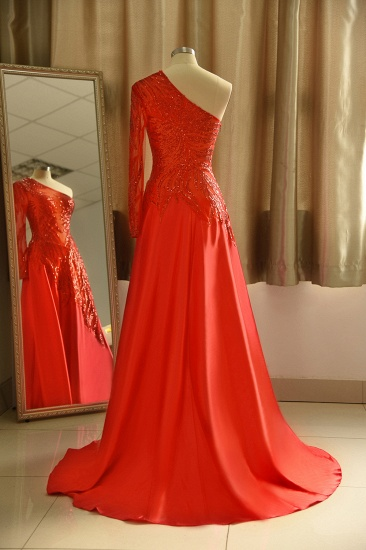 Chic One-Shoulder Red Sequined Prom Dresses One-Sleeve Sexy Party Dress On Sale_3