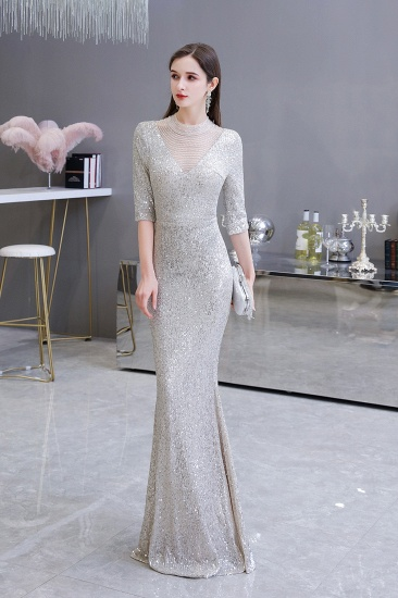 Silver Half Sleeve Sequins Prom Dress Mermaid Long Evening Gowns_6