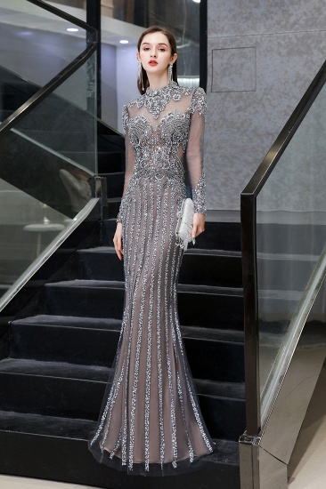 Gorgeous Long Sleeve Mermaid Prom Dress With Sequins High-Neck Evening Gowns