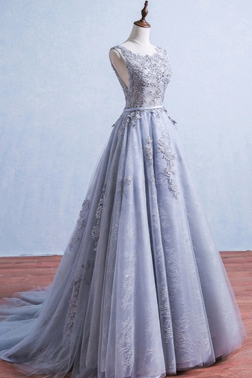 Elegant Jewel Tulle Lace Prom Dresses Sleeveless Appliques Ruffles Party Dresses On Sale_4